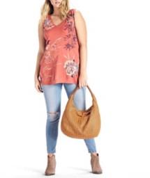 Women's Lucky Brand Plus Size Birds Flower Scroll Tank