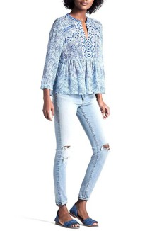 Women's Lucky Brand Embroidered Yoke 3/4 Sleeve Shirt