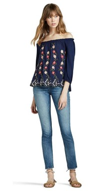 Women's Lucky Brand Embroidered Off The Shoulder Long Sleeve Shirt