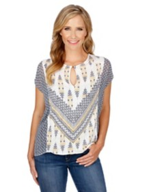 Women's Lucky Brand Printed Mixed Short Sleeve Blouse