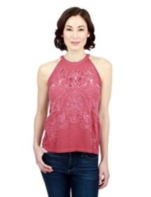Women's Lucky Brand Embroidered Cut Out Tank