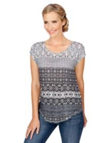 Women's Lucky Brand Ditzy Floral Strip Short Sleeve Shirt