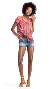 Women's Lucky Brand Border Floral Short Sleeve Shirt