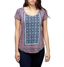 Women's Lucky Brand Kanta Border Short Sleeve Shirt