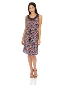 Women's Lucky Brand Crochet Trim Sleeveless Dress