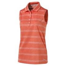 Women's PUMA Pounce Stripe Sleeveless Golf Polo