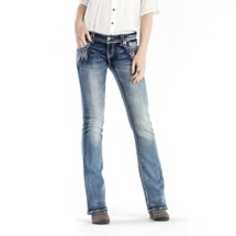 Women's Miss Me Embellished Feather Bootcut Jean