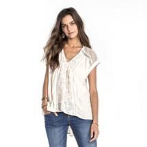 Women's Miss Me Babydoll Lace Short Sleeve Shirt