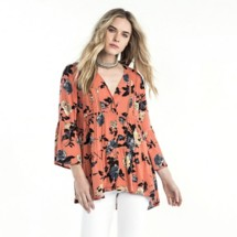 Women's Miss Me Peasant Floral 3/4 Sleeve Shirt