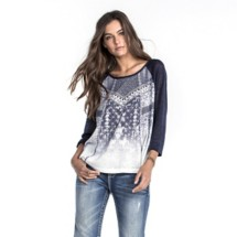 Women's Miss Me Embellished Baseball 3/4 Sleeve Shirt