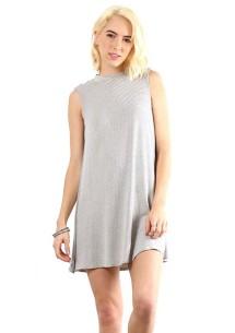 Women's Hem & Thread High Neck Striped Sleeveless Dress