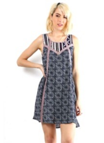 Women's Hem & Thread Mix Print Dress