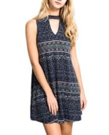 Women's Hem & Thread Keyhole Front Dress