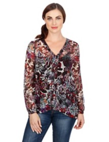 Women's Lucky Brand Floral Peasant Long Sleeve Shirt