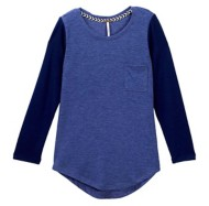 Youth Girls' Poof! Contrast Baseball Long Sleeve Shirt