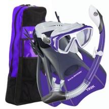 Women's U.S.  Divers Diva LX Mask Island Dry LX Snorkel Trek Fins Combo