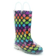 Preschool Girl's Washington Shoe Company Darling Dots Lighted Rain Boots