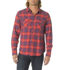 Men's Silver Jeans Plaid Button Up Long Sleeve Shirt