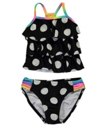 Preschool Girls' Breaking Waves Polka Dot Tankini Set