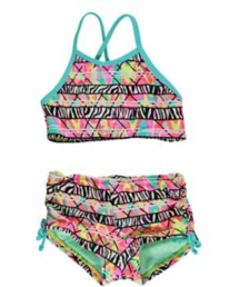 Youth Girls' Breaking Waves Electric Slide Bikini Set