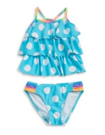 Youth Girls' Breaking Waves Polka Dot Tankini Set