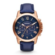 Mens Fossil Nate Chronograph Leather Watch