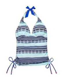 Women's Seeded & Sewn Stripes Shirred Tankini