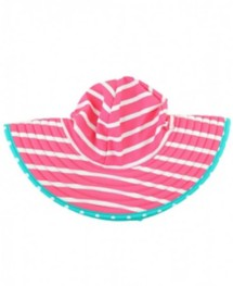 Youth Girls' RuffleButts Candy & Aqua Stripe Reversible Swim Hat