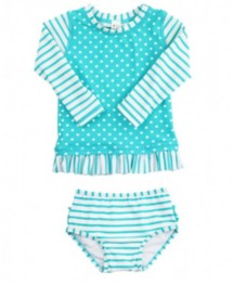 Youth Girls' RuffleButts Aqua Striped Polka Long Sleeve Rash Guard Bikini