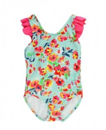 Infant Girls' RuffleButts Painted Flowers Cross Back One Piece