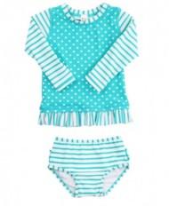 Youth Girls' RuffleButts Aqua Striped Polka Long Sleeve Rash Guard Bikini