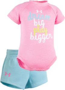 Infant Girls' Under Armour Dream Big Onesie Short Set