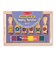 Melissa & Doug Wooden Stamp Set Happy Handles