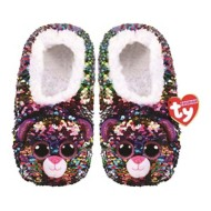 TY Plush Dotty Leopard Sequin Slippers