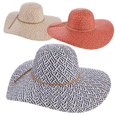 Women's Tropical Trends Two Tone Paper Braid Floppy Hat **Assorted Colors Only**