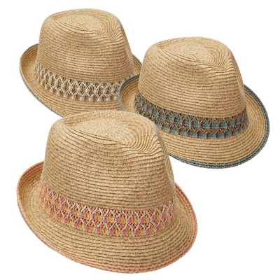 Women's Scala Paper Braid Fedora **Assorted Colors Only**' data-lgimg='{
