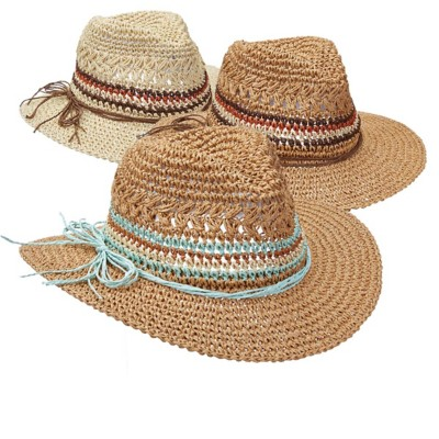 Women's Scala Crocheted Toyo Safari **Assorted Colors Only**