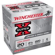 """Winchester Super-X High Brass 20ga 2.75"""" 1 oz. #6 25/bx"""