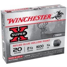 "Winchester Super-X 20ga 2.75"" 3/4 oz. Rifled Slug 5/bx"