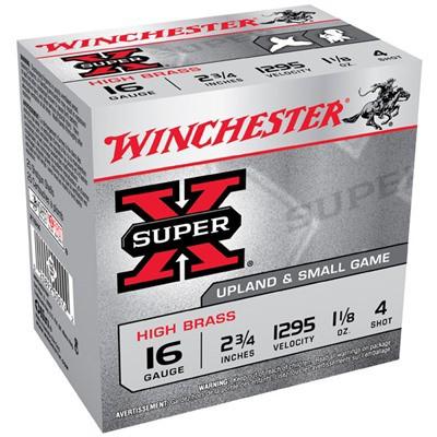 """Winchester Super-X High Brass 16ga 2.75"""" 1-1/8oz #4 25/bx"""