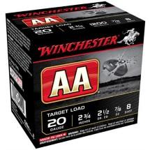 "Winchester AA Target Load 20ga 2.75"" 7/8 oz. #8 25/bx"