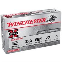 "Winchester Super-X Buckshot 12ga 2.75"" 27 Pellets #4B 5/bx"