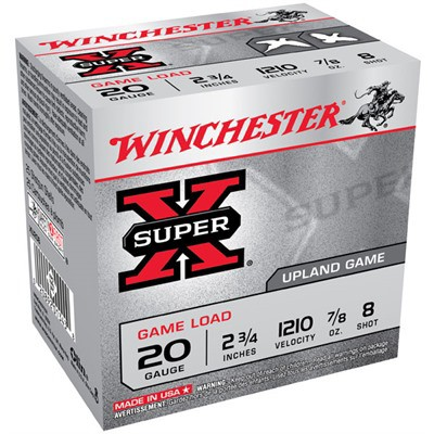 "Winchester Super-X Game Load 20ga 2.75"" 7/8 oz. #8 25/bx"