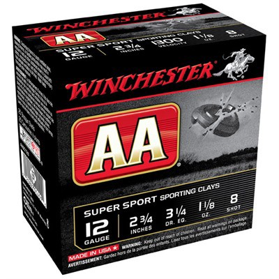"Winchester AA Super Sport Clays 12ga 2.75"" 1-1/8oz #8 25/bx"