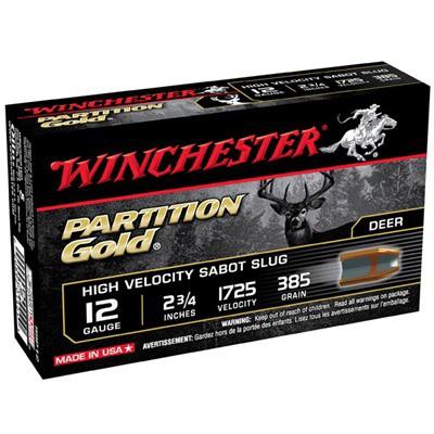 """Winchester Partition Gold 12ga 2.75"""" 385gr Sabot Slug 5/bx"""