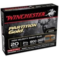"""Winchester Partition Gold 20ga 2.75"""" 260gr Sabot Slug 5/bx"""