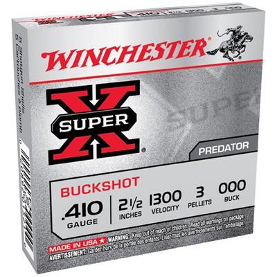 """Winchester Super-X 410ga 2.5"""" 3 Pellets #000 5/bx"""