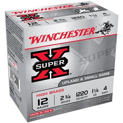 """Winchester Super-X High Brass 12ga 2.75"""" 1-1/4 oz. #4 1220FPS 25/bx"""