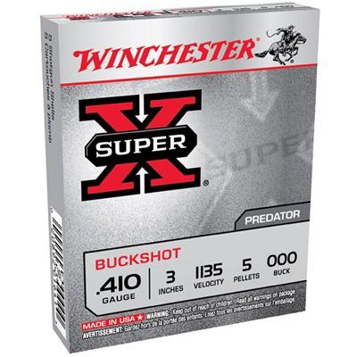 """Winchester Super-X 410ga 3"""" 5 Pellets #000 5/bx"""