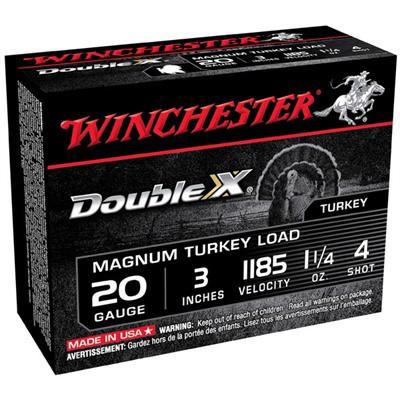"Winchester Double X Turkey 20ga 3"" 1-1/4oz #4 10/bx"